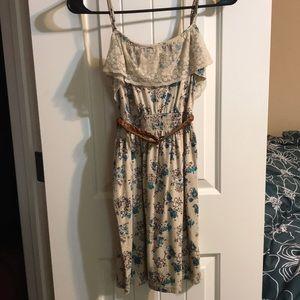 Beige floral print dress